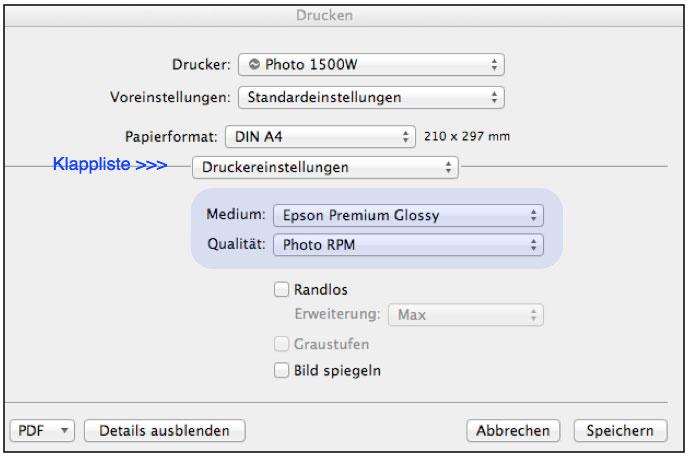 farbenwerk - Papierauswahl beim Druck unter Mac OSX Lion
