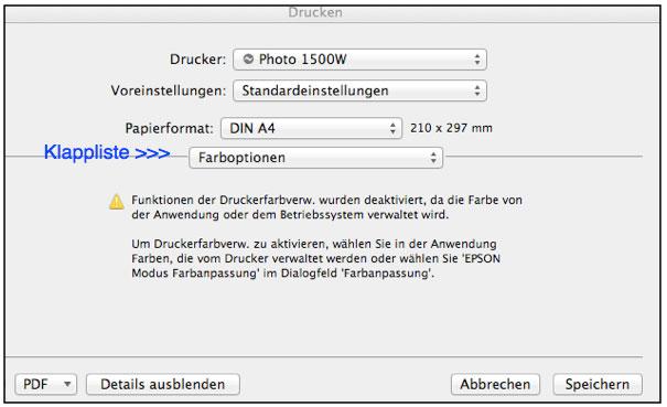 farbenwerk - Druckertreiber-Dialog unter Mac OSX Lion